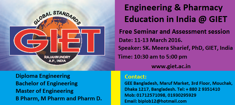 Engineering and Pharmacy admission seminar at GEE