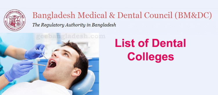 List of BMDC recognized Dental Colleges in Bangladesh